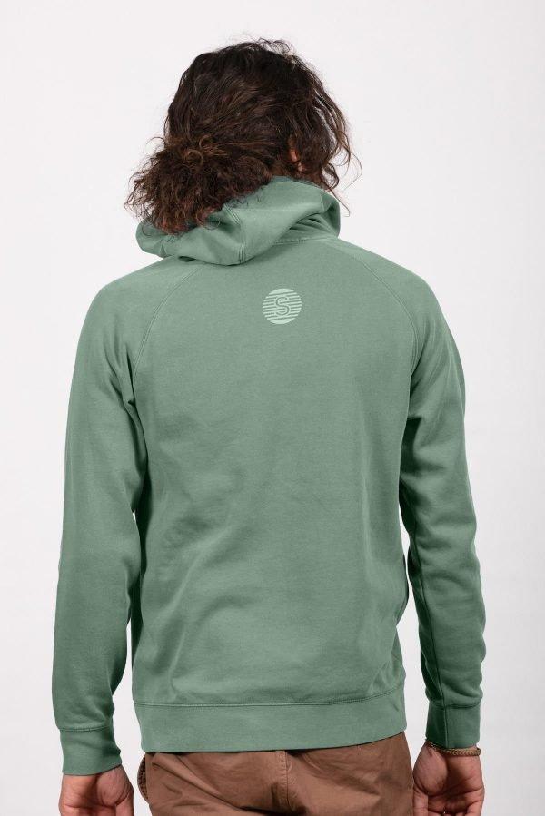 sage green hoodie back